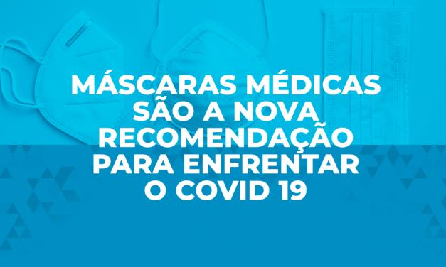 Máscaras médicas são a nova recomendação para enfrentar o Covid 19